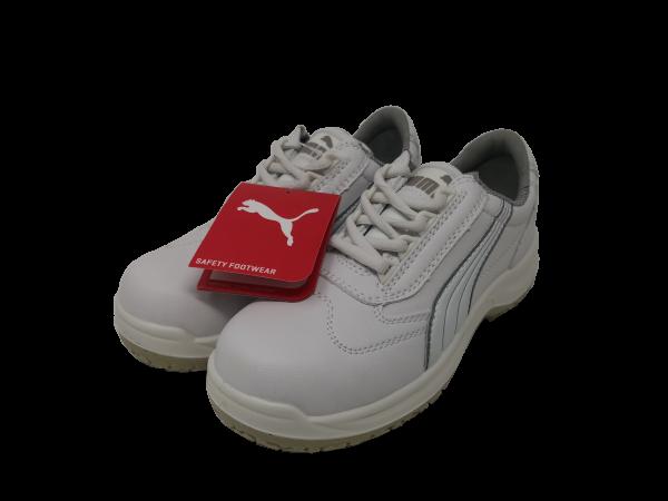 Puma Schutzschuh S2 mit Stahlkappe und Schnürsenkel, flach, weiß, verschiedene Größen